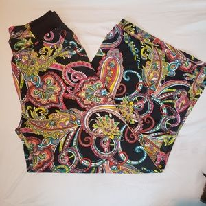Colorful patterned hippie wide leg pants OS